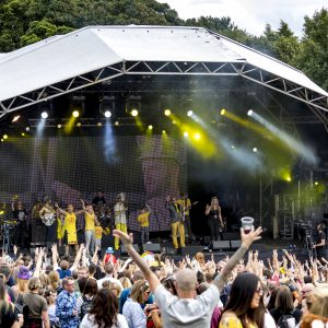Colonel Mustard and the Dijon 5performing at Party At The Palace Music Festival in Linlithgow Palace grounds on Sat 11th August 2018.Alan Rennie/ EEm